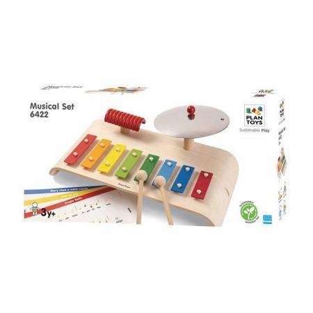 Drewniany zestaw muzyczny dla dzieci - cymbałki, talerz, guiro, Plan Toys