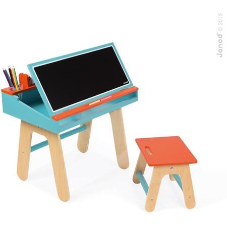 Drewniany zestaw stolik plastyczny i krzesełko dla chłopca- stolik kredowy + organizery, JANOD J09616