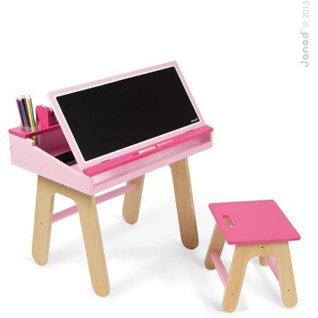 Drewniany zestaw stolik plastyczny i krzesełko dla dziewczynki - stolik kredowy + organizery, JANOD J09618