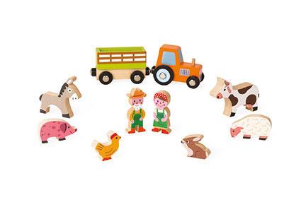 Farma zestaw drewniany 10 elementów kolekcja Story, Janod