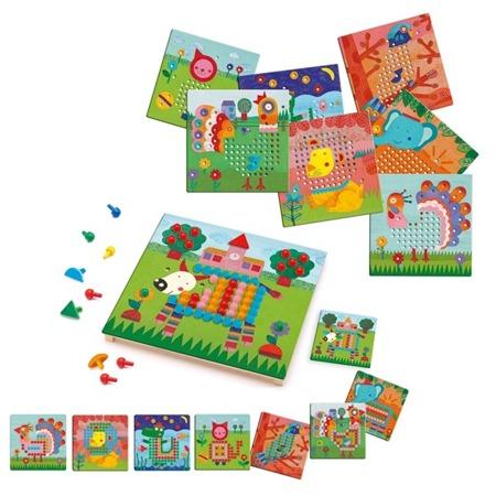 Gra edukacyjna kolorowe obrazki - Mozaika na FARMIE, 3 lata +, DJECO DJ08137