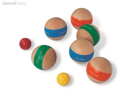 """Gra zręcznościowa Bule, Janod - 6 drewnianych kul + 2 mniejsze kule """"świnki"""""""
