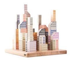 Klocki drewniane Manhattan - klocki do układania piramidy, bloków, na podstawce, BAJO