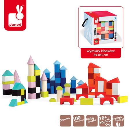 Klocki drewniane dla dzieci Kubix 100 sztuk, Janod - kolorowe klocki w pudełku