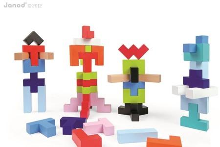 Klocki drewniane geometryczne dla dzieci Kubix 50 sztuk, Janod - kolorowe klocki w pudełku