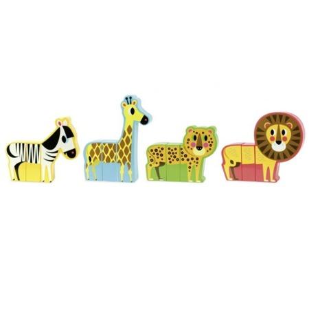 Klocki magnetyczne Zwierzęta - Śmieszna Sawanna, 4 zwierzątka, VILAC