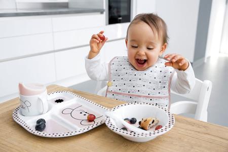 Komplet naczyń do jedzenia dla dzieci z melaminy Little Chums Mysz - 4 el., Lassig