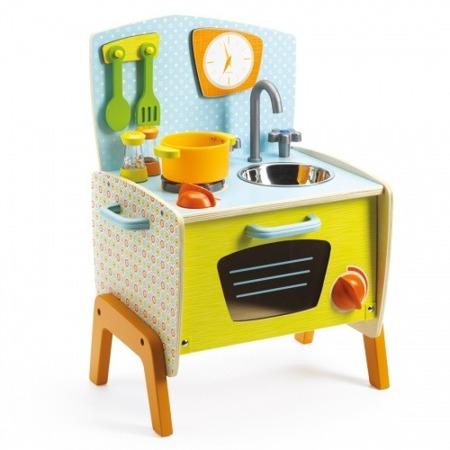 Kuchnia dla dzieci - drewniana kuchenka w stylu lat 70-tych, DJECO DJ06517