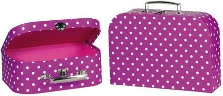 Malinowe walizki dla dzieci - zestaw walizek w kropki 2 szt., GOKI 60106