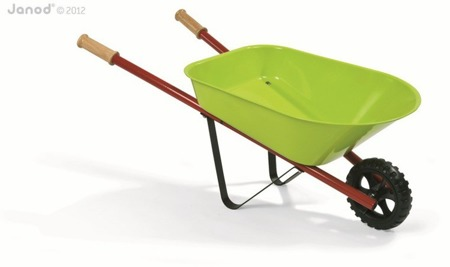 Metalowa taczka ogrodowa - zielona taczka dla dzieci, Janod