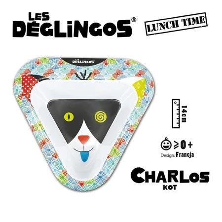 Miseczka do jedzenia dla dzieci z melaminy Kot Charlos, Les Deglingos