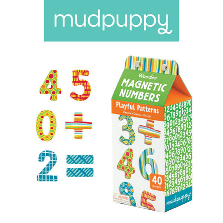Drewniane magnesy LICZBY - zestaw magnesów w kolorowe wzory cyferki 40 elementów, Mudpuppy