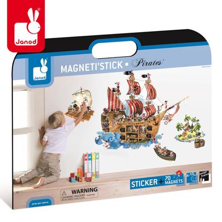 Naklejka ścienna XL z 70 magnesami Piraci Magneti'Stick, Janod