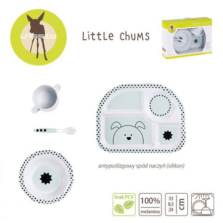 Nowoczesny komplet naczyń dla dzieci z melaminy Little Chums Pies - 4el., Lassig