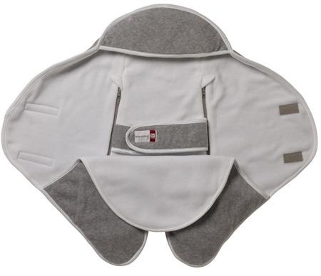 Otulacz rożek, kocyk dla noworodka i niemowlaka Babynomade 6-12m Double Fleece Light grey/ White Red Castle
