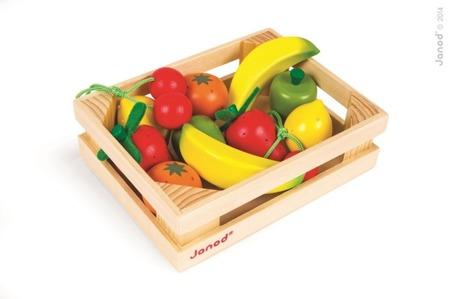 Owoce drewniane 12 szt. w skrzyneczce, Janod