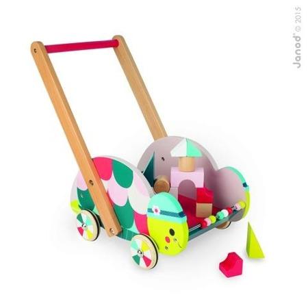 Pchacz, chodzik dla dzieci - wózek z klockami leśny żółw + 12 klocków, JANOD
