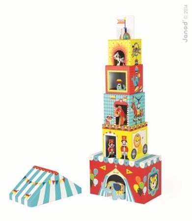 Piramida wieża ze zwierzątkami Cyrk - kartonowe klocki do układania piramidy + figurki, JANOD