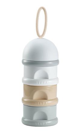 Pojemniki na mleko w proszku nude - 3 komory x 90ml = 270ml, na spacer, podróż, BEABA