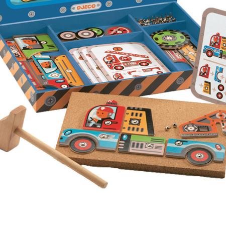 Przybijanka dla dzieci - układanka pojazdy, auta, samochody zestaw DJECO, DJ06641