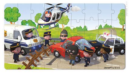 Puzzle 2w1 Radiowóz policjanta Pawła, Janod