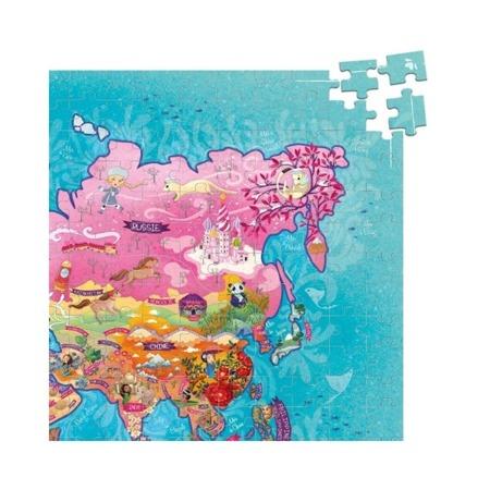 Puzzle Mapa Świata - poetyczna mapa z puzzli, 500 el., 1m długości!, 8 lat +, VILAC