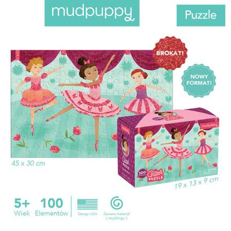Puzzle dla dziewczynek z brokatem Baletnice 100 elementów 5+, Mudpuppy