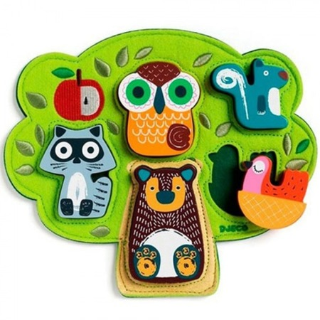 Puzzle drewniano-filcowe Oski - oryginalna układanka zwierzęta dla dzieci 12 m+, Djeco