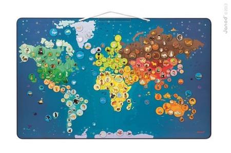 Puzzle magnetyczne Zwierzęta świata, Janod - puzzle (201 magnesów) oraz duża tablica magnetyczna 72x46 cm