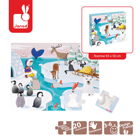 Puzzle sensoryczne 20 elementów Lodowa kraina, 3 lata +, 65 x 20 cm, JANOD