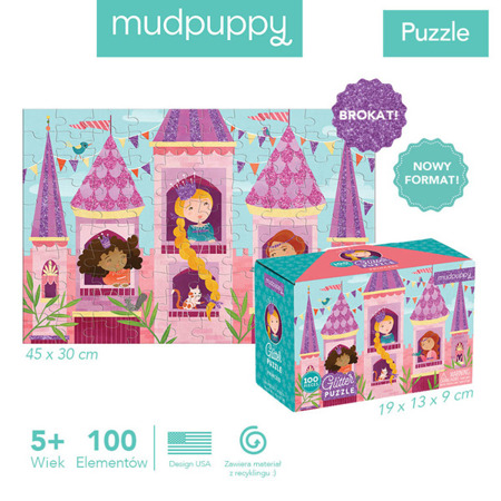 Puzzle z brokatem Księżniczka 100 elementów 5+, Mudpuppy
