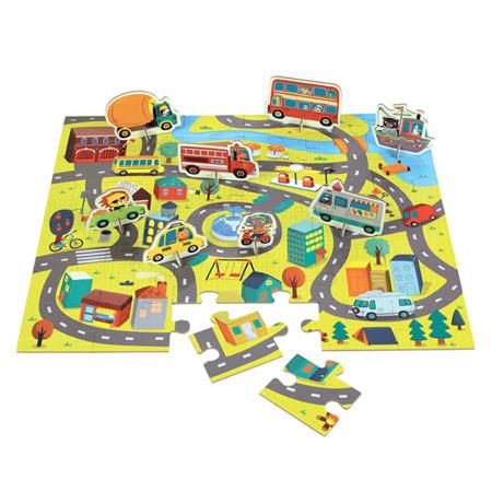 Puzzle zestaw z 8 figurkami W mieście - plan miasta z ulicami 3 lata +, Mudpuppy