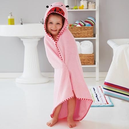 Ręcznik do kąpieli dla niemowlaka z kapturkiem - okrycie kąpielowe Zoo Biedronka