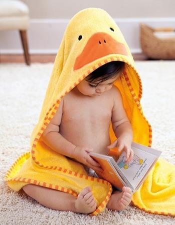 Ręcznik do kąpieli dla niemowlaka z kapturkiem - okrycie kąpielowe Zoo Kaczka