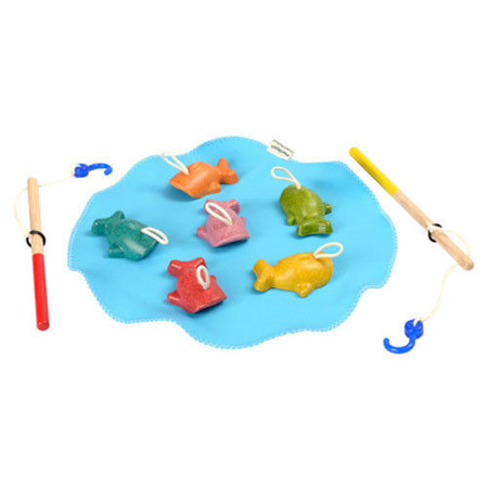 Rybki do łowienia - wędkarzyki ze sznurkami, zabawka sprawnościowa, Plan Toys