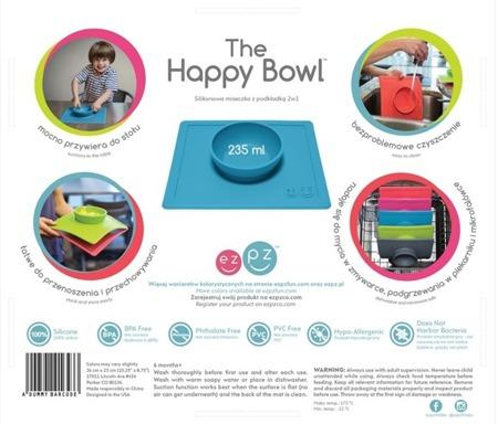 Silikonowa miseczka do jedzenia dla dzieci z podkładką 2w1 Happy Bowl niebieska, EZPZ