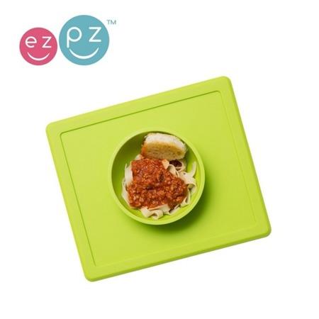 Silikonowa miseczka do jedzenia dla dzieci z podkładką 2w1 Happy Bowl zielona, EZPZ