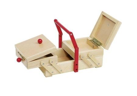 Skrzyneczka, niciarka, pojemnik na przybory do szycia, spinki i pomoce plastyczne