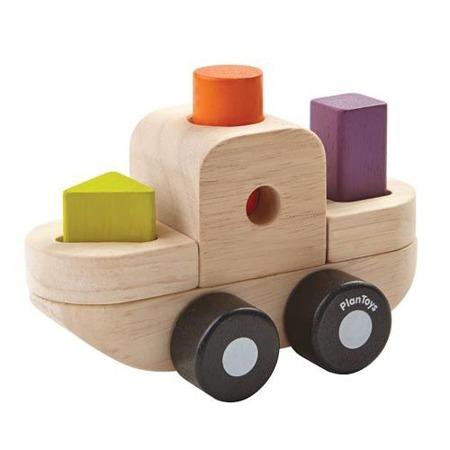 Sorter z figurami w kształcie statku - sorter kształtów z klockami, Plan Toys