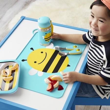 Stalowy bidon ze słomką dla dzieci - stal nierdzewna, Pszczoła Zoo, SKIP HOP