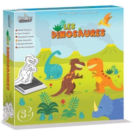 Stempelki piankowe dla dzieci - DINOZAURY, zestaw 10 stempelków + tusz, 4 lata +, CREA LIGN'