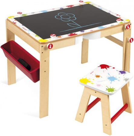 Stolik dla dzieci (przedszkolaka), biurko i tablica kredowa + suchościeralna 2w1, JANOD
