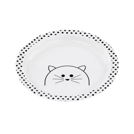 Talerz dla dzieci do jedzenia z melaminy Little Chums Kot, Lassig