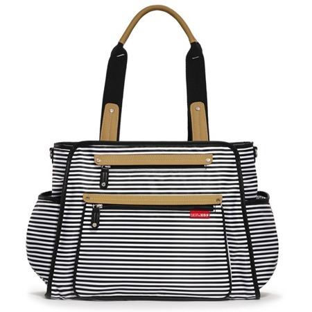 Torba do wózka Grand Central Black Stripe - pojemna torba dla mamy na akcesoria niemowlęce, SKIP HOP
