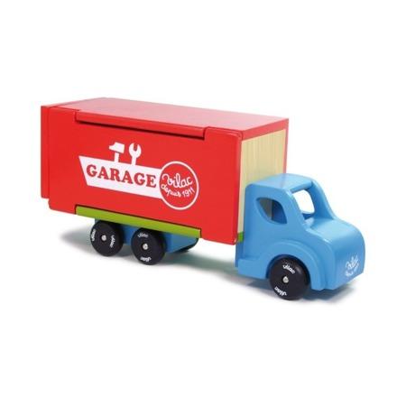 Drewniany garaż 3w1, rozkładana ciężarówka z samochodami, 3 lata +, VILAC