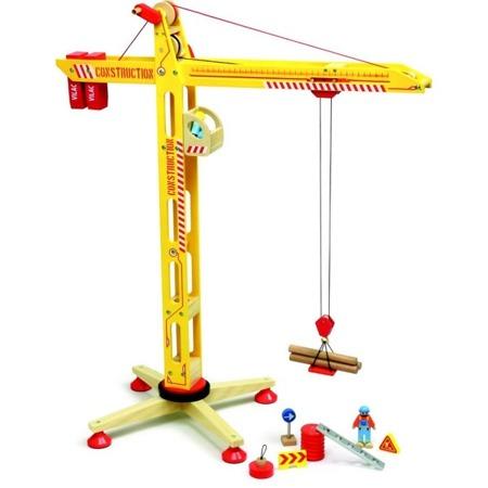 Dźwig drewniany duży XL Vilacity + 2 figurki robotników i akcesoria, VILAC