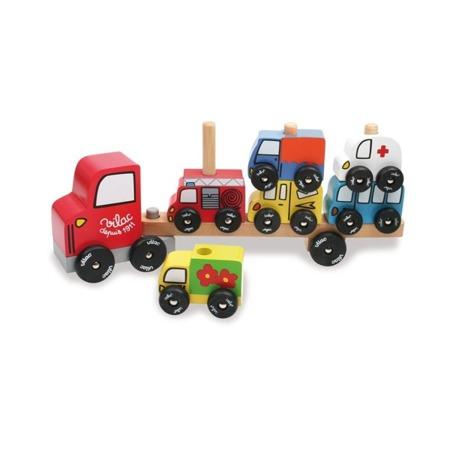 Drewniane autka zestaw 6 szt + ciężarówka, nakładanka samochody, VILAC