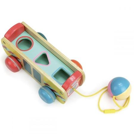 Drewniany autobus na sznurku, do ciągnięcia - zabawka autokar, 12m+, VILAC
