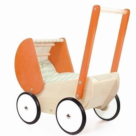 Wózek drewniany dla lalki - głęboki wózek z daszkiem, pościel dla lalki, Bajo