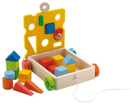 Wózek drewniany do sortowania - sorter kształtów do ciągnięcia, Myszka